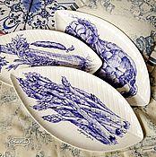 Посуда handmade. Livemaster - original item Painted porcelain. A Dish Of Asparagus, Celery, Artichoke. Handmade.