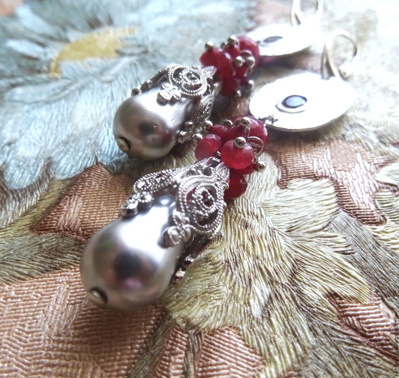 Earrings 'Arabesque' (Rubin, Mallorca pearls, silver), Earrings, Moscow,  Фото №1