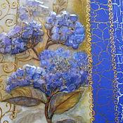 Для дома и интерьера ручной работы. Ярмарка Мастеров - ручная работа картина - панно Синяя Гортензия. Handmade.