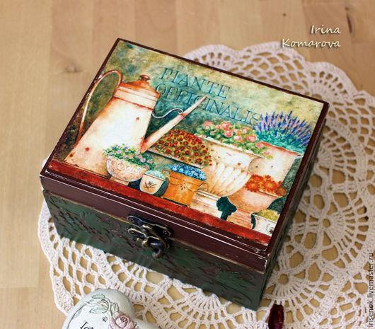 """Шкатулки ручной работы. Ярмарка Мастеров - ручная работа. Купить """"В ароматах цветов"""" шкатулка. Handmade. Тёмно-зелёный, дерево"""