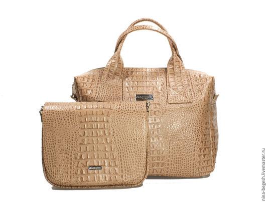 """Женские сумки ручной работы. Ярмарка Мастеров - ручная работа. Купить Комплект кожаных сумок """"Песчаное море"""", натуральная кожа. Handmade."""