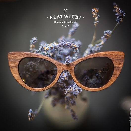 """Очки ручной работы. Ярмарка Мастеров - ручная работа. Купить Солнцезащитные очки из дерева. """"Slatwicki"""" . Кошка. Орех американский. Handmade."""
