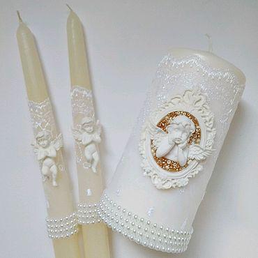 Свадебный салон ручной работы. Ярмарка Мастеров - ручная работа Свадебные свечи белые с ангелом. Handmade.