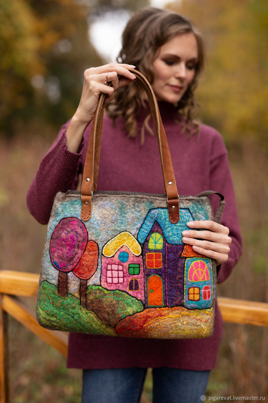 войлочная сумка на плечо с домиками, Сумка-шоппер, Ташкент,  Фото №1