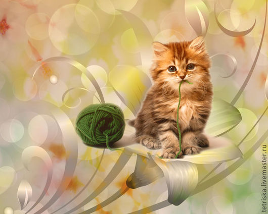 Фото и видео услуги ручной работы. Ярмарка Мастеров - ручная работа. Купить котенок и клубок. Handmade. Коллаж, котенок, клубок