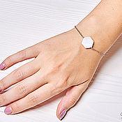 Украшения handmade. Livemaster - original item Chain bracelet with mother-of-pearl hexagon. Handmade.