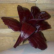Украшения ручной работы. Ярмарка Мастеров - ручная работа орхидея - брошь из кожи. Handmade.