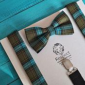 Аксессуары handmade. Livemaster - original item Tie Suspenders, Tartan / green plaid bow tie and suspenders. Handmade.