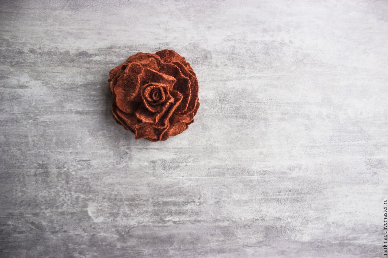 Терракотовая войлочная брошь-роза, Броши, Каменск-Шахтинский, Фото №1
