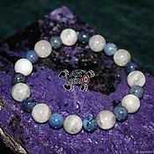 Украшения handmade. Livemaster - original item Bracelet of moonstone and of dumortierite, into the hands of 16-18 cm. Handmade.