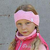 Аксессуары handmade. Livemaster - original item Knitted headband Pink Crown with rhinestones for girls. Handmade.