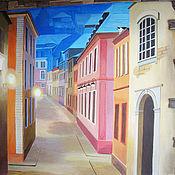 """Дизайн и реклама ручной работы. Ярмарка Мастеров - ручная работа роспись стены """"Европейская улочка"""". Handmade."""