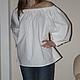 """Блузки ручной работы. Ярмарка Мастеров - ручная работа. Купить Блузка """"Крестьянка"""" белая. Handmade. Белый, блузка в подарок, на море"""
