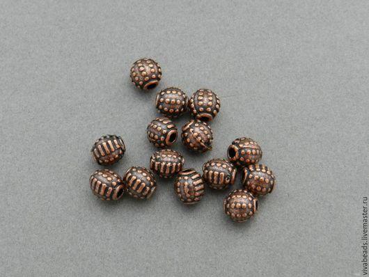 Бусина металлическая спейсер (разделитель бусин), размер 7 мм, отверстие 1,5 мм, цвет античная медь, материал - сплав металлов, не содержит свинца, кадмия и никеля (арт. 1711)