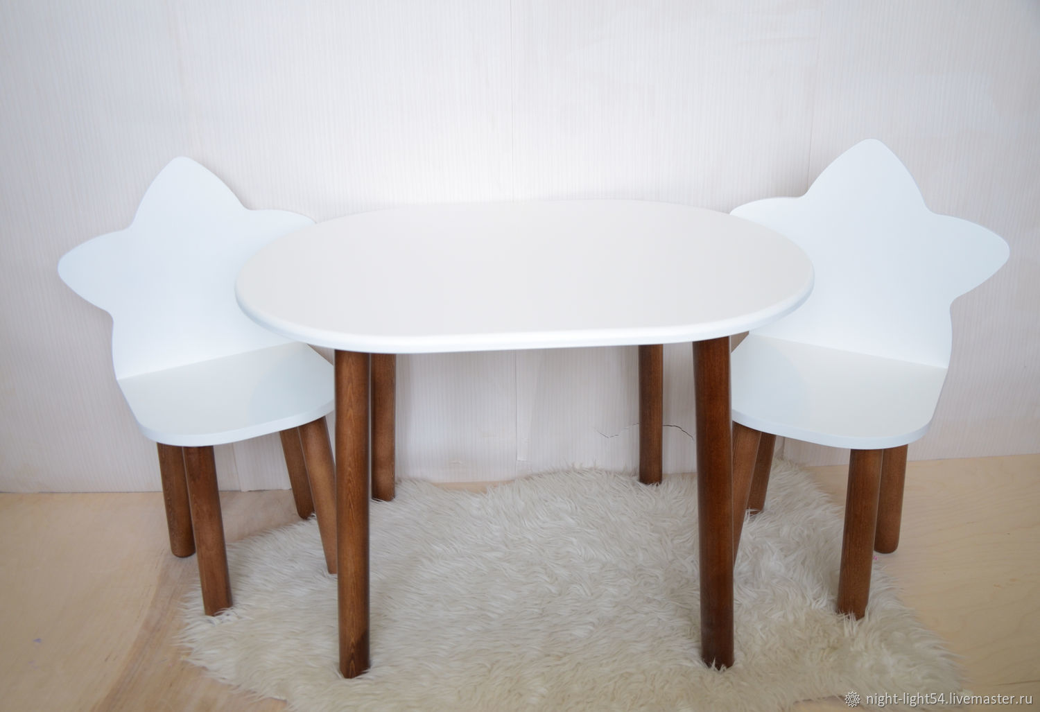 Children's table 'Oval 2' walnut legs, Furniture for a nursery, Novosibirsk,  Фото №1