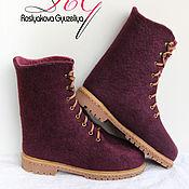 Обувь ручной работы. Ярмарка Мастеров - ручная работа Валяные женские ботинки Баклажан. Handmade.