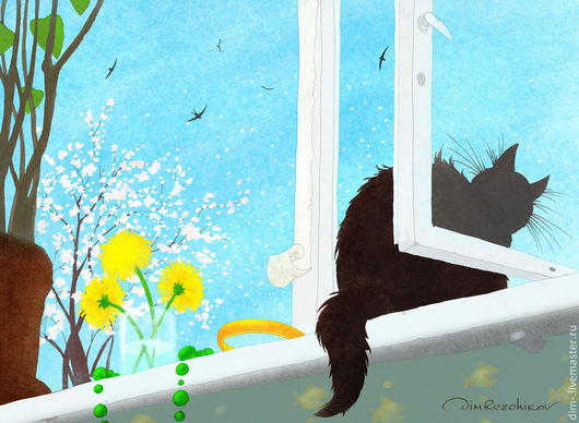 """Животные ручной работы. Ярмарка Мастеров - ручная работа. Купить """"Май, кошка в окне""""  авторский принт. Handmade. Авторский принт"""