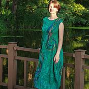 """Одежда ручной работы. Ярмарка Мастеров - ручная работа """"Завитки""""- двустороннее валяное платье. Handmade."""