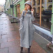 Одежда ручной работы. Ярмарка Мастеров - ручная работа платье валяное46- 48-50 размер серое Питер. Handmade.