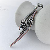 """Украшения ручной работы. Ярмарка Мастеров - ручная работа Кулон-меч """"Грид"""" из меди, серебра и жемчуга. Handmade."""
