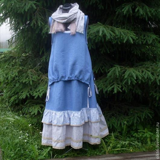 Юбки ручной работы. Ярмарка Мастеров - ручная работа. Купить №129 Льняной комплект юбка+жилет+шарф. Handmade. Синий, палантин, макси