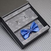Галстуки ручной работы. Ярмарка Мастеров - ручная работа Дизайнерский набор синяя бабочка и запонки с гравировкой. Handmade.