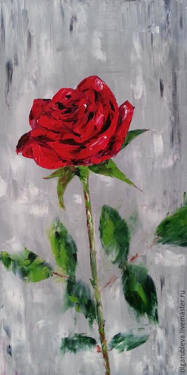 Картины цветов ручной работы. Ярмарка Мастеров - ручная работа. Купить Роза Баркароле (30х60 см). Handmade. Ярко-красный