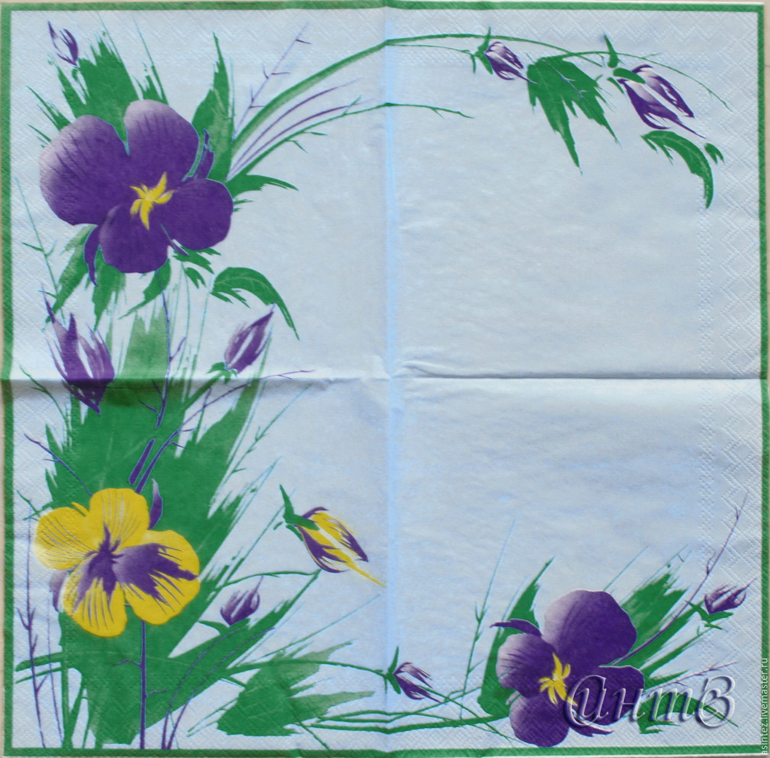 Napkin for decoupage flowers blue background theme, Napkins for decoupage, Moscow,  Фото №1