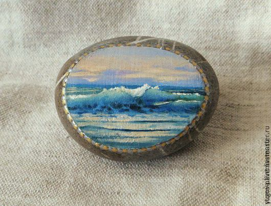 Роспись по камню ручной работы. Ярмарка Мастеров - ручная работа. Купить Миниатюра на природном камне Волна. Handmade. Комбинированный, шторм