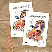"""Открытки ручной работы. Ярмарка Мастеров - ручная работа Открытка с уютным и тёплым лисёнком """"Хорошего дня!"""". Handmade."""
