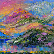 Картины и панно handmade. Livemaster - original item The picture mountains and lake