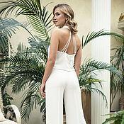 Свадебный салон ручной работы. Ярмарка Мастеров - ручная работа Свадебный костюм для невесты, белый брючный костюм. Handmade.