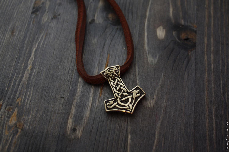 Bronze pendant Thor's hammer on a leather cord, Pendants, Volgograd,  Фото №1