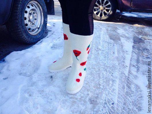 """Обувь ручной работы. Ярмарка Мастеров - ручная работа. Купить Валенки """"Маковые"""". Handmade. Валенки для улицы, валяная обувь"""