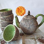"""Сервизы ручной работы. Ярмарка Мастеров - ручная работа Чайный сервиз """"Пикник на траве"""". Handmade."""