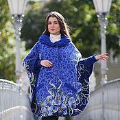 Одежда ручной работы. Ярмарка Мастеров - ручная работа Пончо-пальто с капюшоном Осенняя синь. Handmade.
