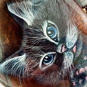 Украшения handmade. Livemaster - original item Smoke – pendant / necklace with a cat (original lacquer painting).. Handmade.