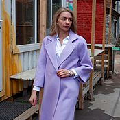 Одежда ручной работы. Ярмарка Мастеров - ручная работа Пальто оверсайз, шерсть 42-44, 95 см, фиалка. Handmade.