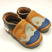 Работы для детей, handmade. Livemaster - original item Soft sole baby shoes leather handmade infant whale gray brown ebooba. Handmade.