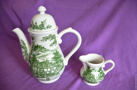 Винтажная посуда. Ярмарка Мастеров - ручная работа. Купить Английский чайник(26 см) с молочником BRIDGWOOD.. Handmade. Фарфор из европы, чайник