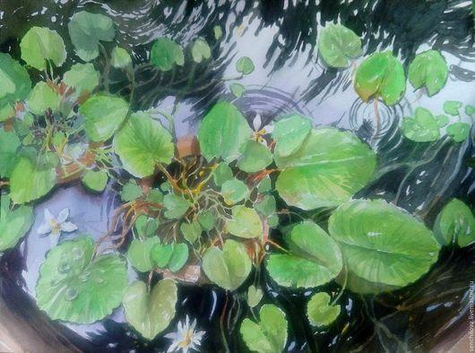 """Картины цветов ручной работы. Ярмарка Мастеров - ручная работа. Купить Акварель """"Водяные лилии"""".. Handmade. Зеленый, картина в подарок"""