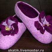 """Обувь ручной работы. Ярмарка Мастеров - ручная работа тапочки """"Анютины глазки"""". Handmade."""