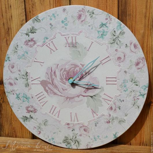 Часы для дома ручной работы. Ярмарка Мастеров - ручная работа. Купить Часы ДОБРОЕ УТРО. Handmade. Декупаж, нежный, роза