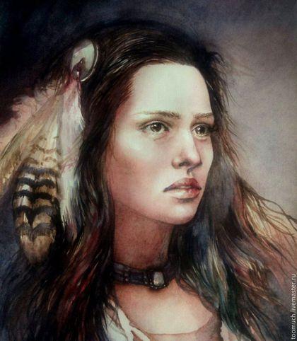 Фантазийные сюжеты ручной работы. Ярмарка Мастеров - ручная работа. Купить Портрет индейской девушки. Handmade. Комбинированный, картина на заказ