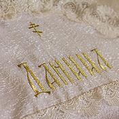 Работы для детей, ручной работы. Ярмарка Мастеров - ручная работа Крыжма на крещение.+ мешок для хранения с вышивкой. Handmade.