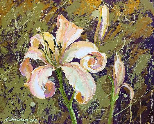 """Картины цветов ручной работы. Ярмарка Мастеров - ручная работа. Купить """"Космо-Лилейник"""" картина с лилией маслом и мастихином. Handmade."""