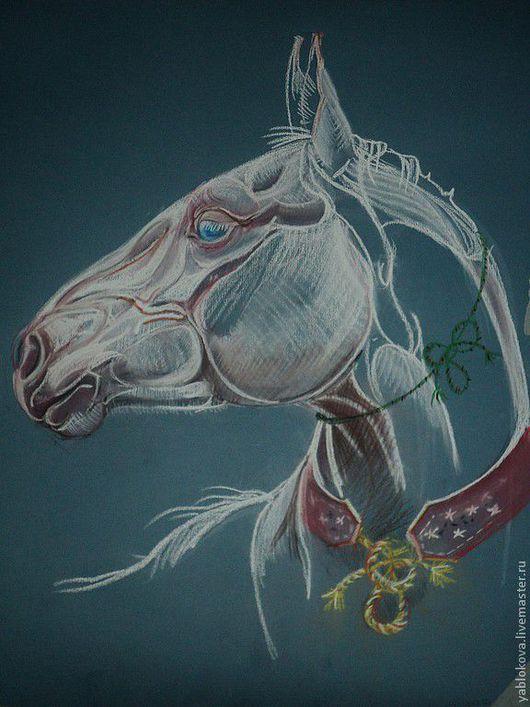 """Животные ручной работы. Ярмарка Мастеров - ручная работа. Купить Бумага для пастели, пастель. """"Жеребёнок ахалтекинец"""". Handmade. Голубой, лошадь"""