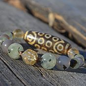 Украшения handmade. Livemaster - original item Bracelet, old Tibetan Dzi bead 21 of the eye, prehnite, agate. Handmade.