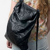 Сумки и аксессуары handmade. Livemaster - original item Black backpack, genuine leather, pressed, Black backpack.. Handmade.