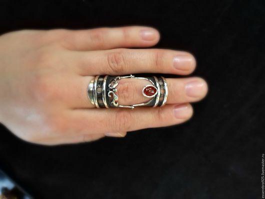 Кольца ручной работы. Ярмарка Мастеров - ручная работа. Купить Серебряный кольцо 925. Кольцо на две фаланги. Handmade. Серый